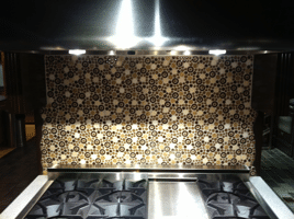 pro style range with custom tile