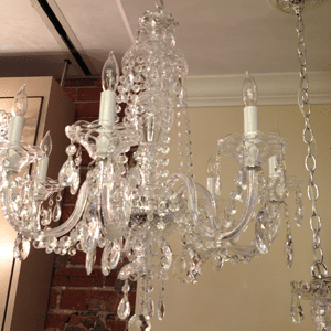 glass arm crystal chandelier