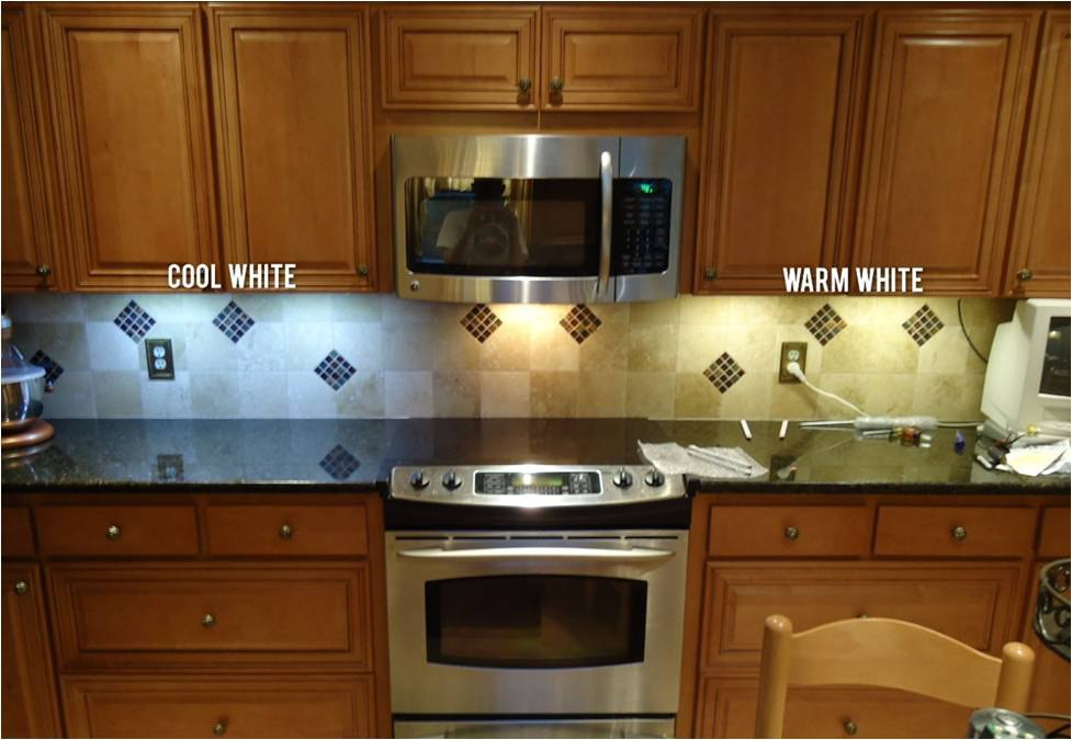 Color temperature in led under cabinet lighting kelvin temperature warm white cool white kitchen mozeypictures Choice Image