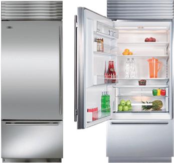 subzero 30 inch refrigerator BI30U open closed