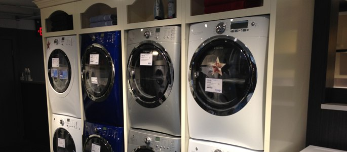 Stacked Front Load Washer Display