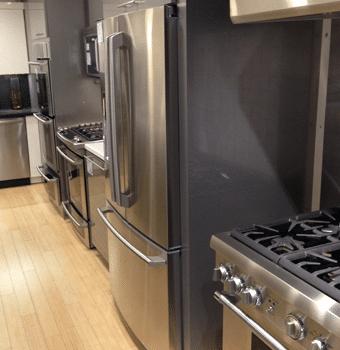 Regular counter depth refrigerator from the side.
