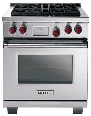 wolf 30 inch dual fuel range DF304