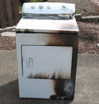 burned clothes dryer fire