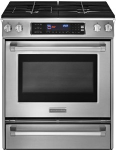 kitchenaid slidein gas range KGSS907XSP