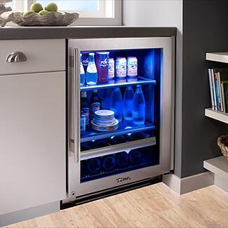 true refrigerator installed blue led lighting