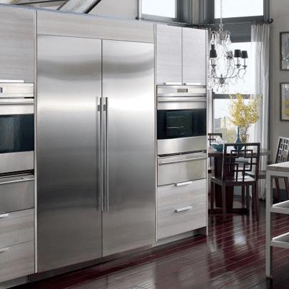 subzero integrated refrigerator columns IC27R installed