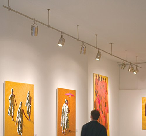 gallery wall washing with track lighting