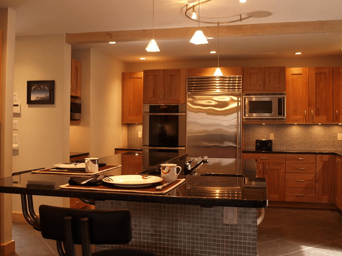 How to light a kitchen track vs recessed lighting reviews ratings kitchen example track recessed 5 aloadofball Image collections