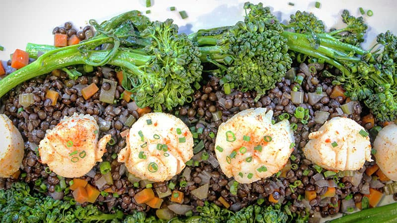 Beluga-Lentils-with-Steamed-Scallops-and-Broccolini-Healthy-Steam-Oven-Recipe-Yale-Appliance