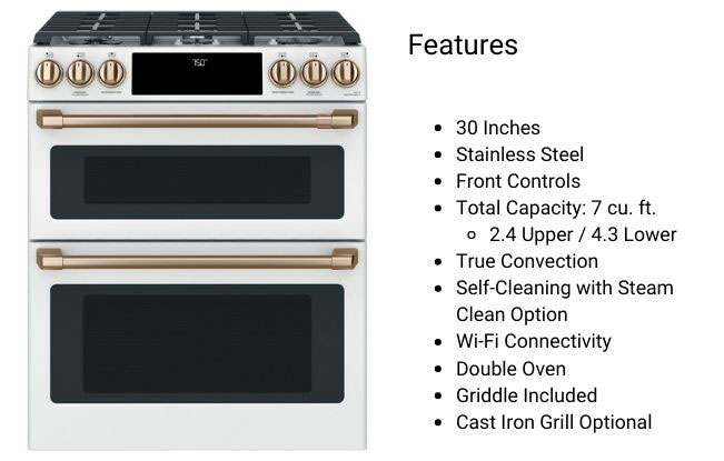 Cafe-30_-Slide-In-Front-Control-Gas-Double-Oven-with-Convection-Range