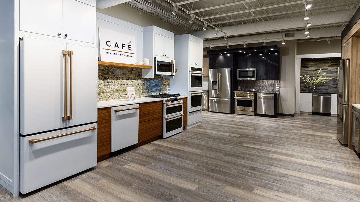 Cafe-Appliances-in-white-with-bronze-handles-at-yale-appliance-in-hanover