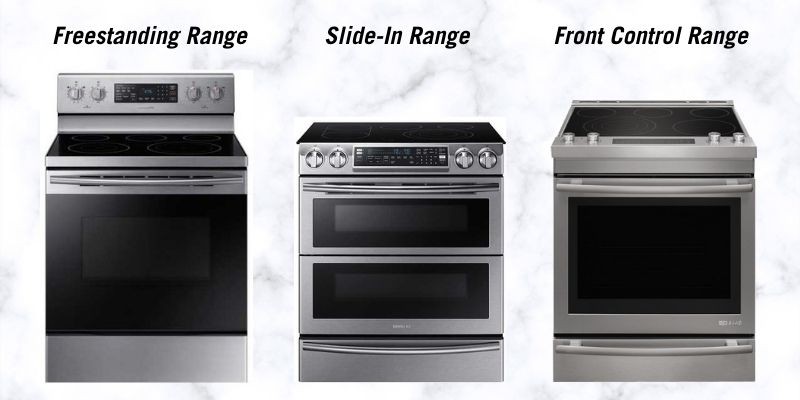 Freestanding, slide-in, and front control ranges