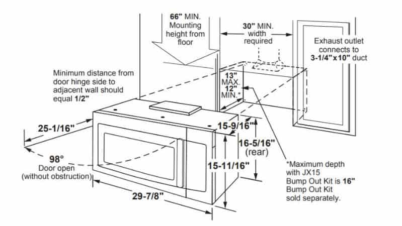 GE-Profile-over-the-range-microwave-diagram-for-installation