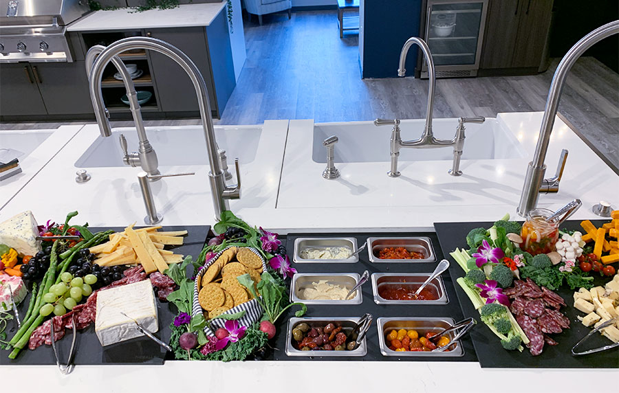 Galley-workstation-at-yale-appliance-in-hanover---setup-for-event