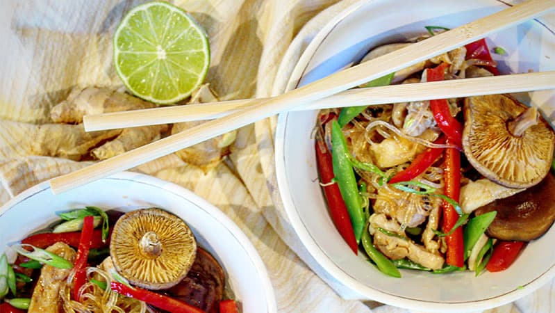 Ginger-Scallion-Chicken-with-Cellophane-Noodles,-Red-Peppers,-and-Snow-Peas-Healthy-Steam-Oven-Recipes-Yale-Appliance