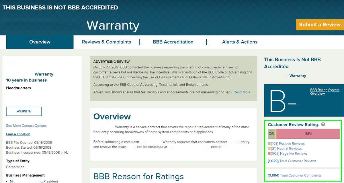 Home Warranty - Better Business Bureau