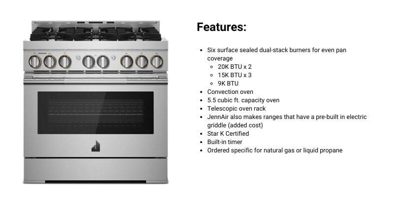 JennAir Rise 36-Inch Professional Gas Range