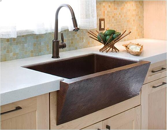Copper farm sink kitchen