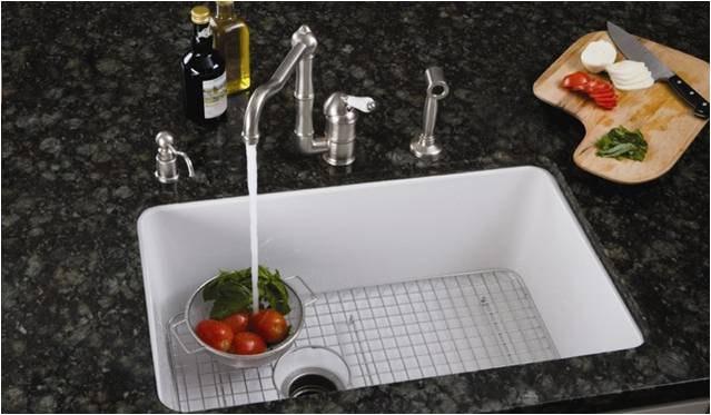 porcelain undermount sink kitchen