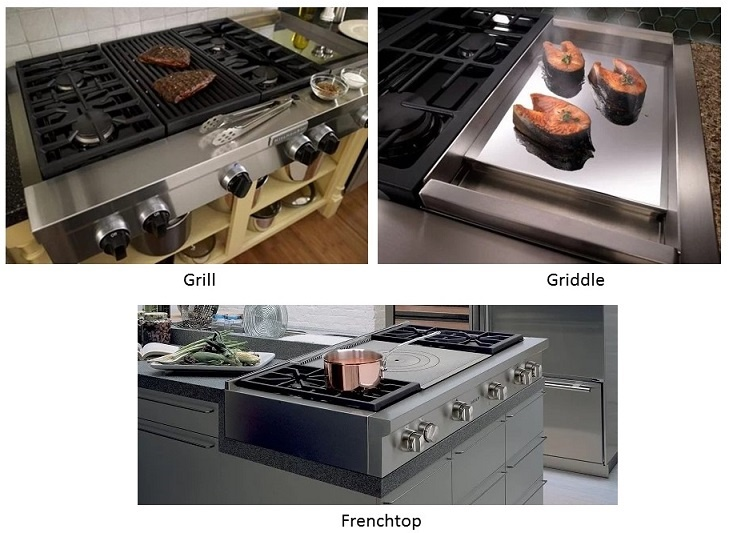 grill, griddle, and French top on pro rangetop