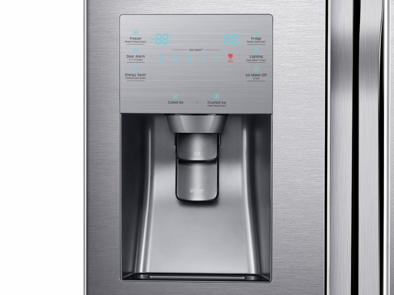 RF23J9011SR_05_Refrigerator_French-Door_RF23J9011SR_Control_Panel_Water_Dispenser_Silver_20171024