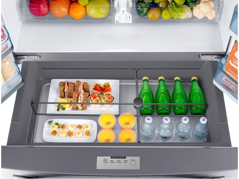 Refrigerator_French-Door_RF22KREDBSR_Top_View_Flex_Zone_Drawer-Open_Drinks_Food_Sandwiches