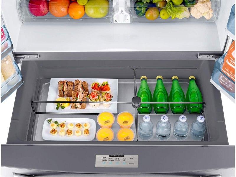 Refrigerator_French-Door_RF22KREDBSR_Top_View_Flex_Zone_Drawer-Open_Drinks_Food_Sandwiches