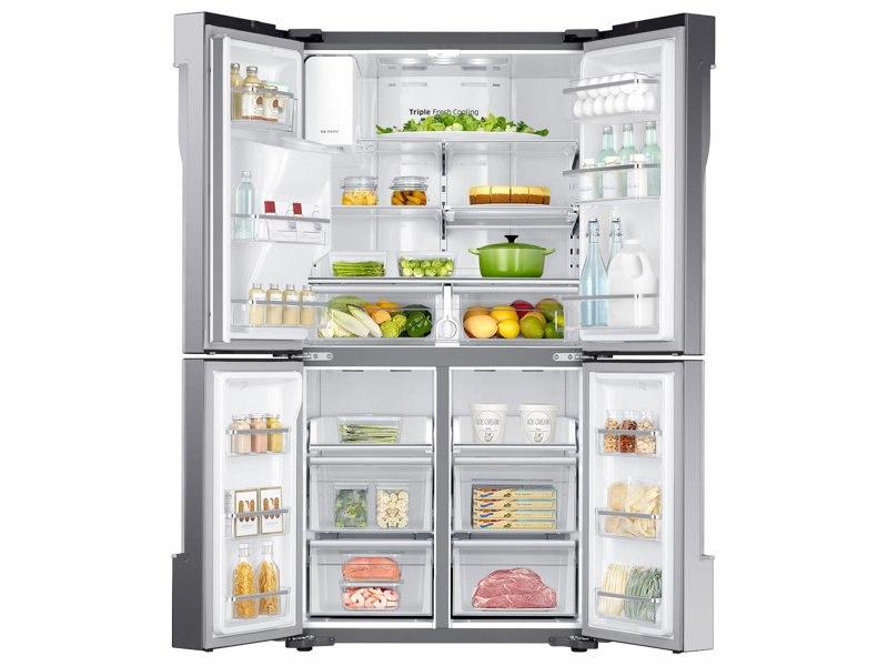 Refrigerator_French-Door_RF23J9011SR_Front_All_Doors_Open-Food_Silver_20171024