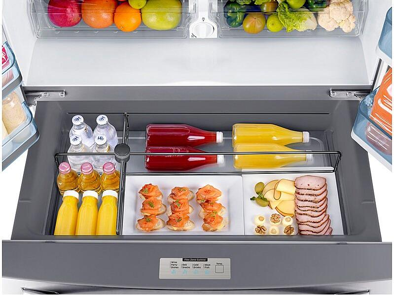 Samsung Counter Depth French Door Refrigerator RF22KREDBSR_Top_View_Flex_Zone_Drawer-Open