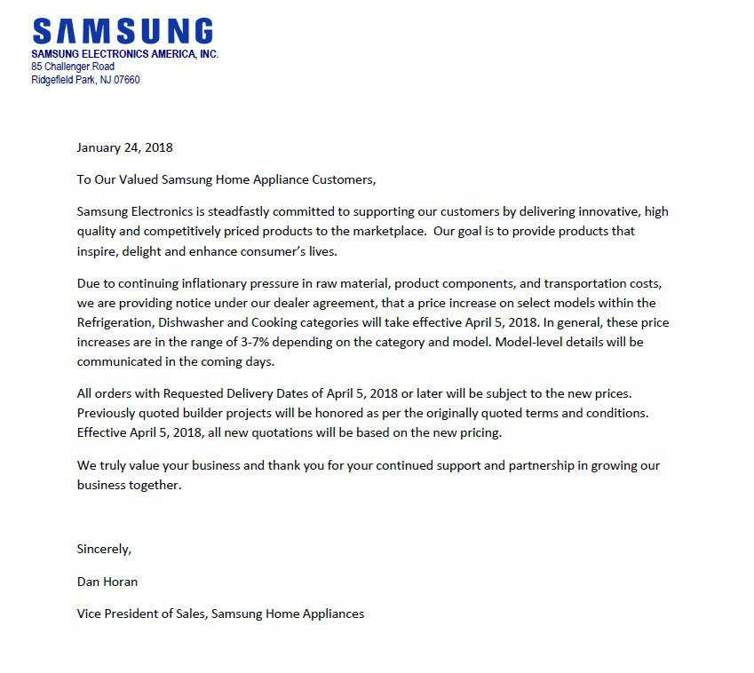 Samsung Letter to Customers