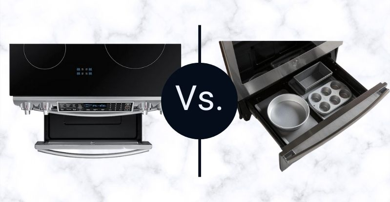 Samsung Vs GE Profile Induction Range warming drawers