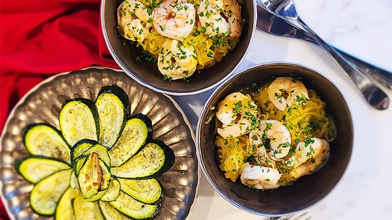 Spaghetti-Squash-Shrimp-Scampi-with-Roasted-Zucchini-Healthy-Steam-Oven-Recipes-Yale-Appliance