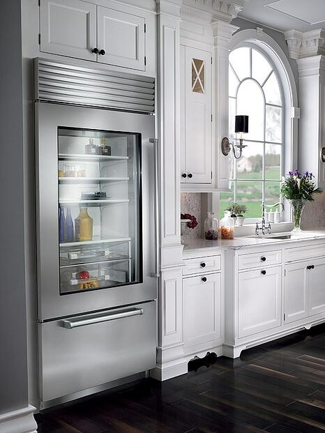 Bi-36 Professional Sub-Zero Refrigerator with Glass Door in Live Kitchen.jpg