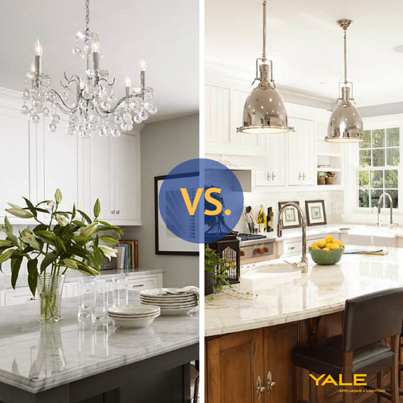 Pendant lighting vs. Chandeliers over a kitchen island & Pendants vs. Chandeliers Over a Kitchen Island (Reviews/Ratings/Prices)