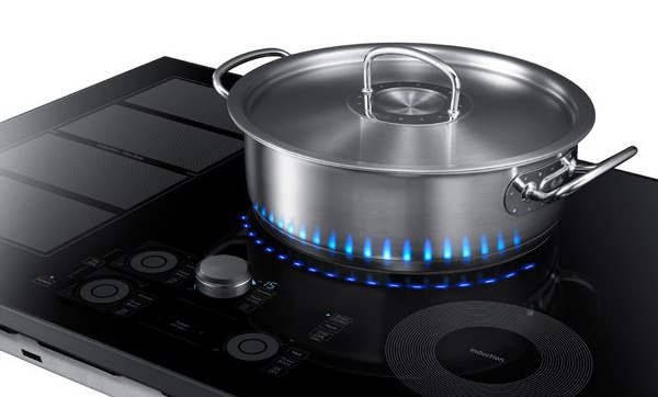 samsung induction cooktop with blue led artificial flames