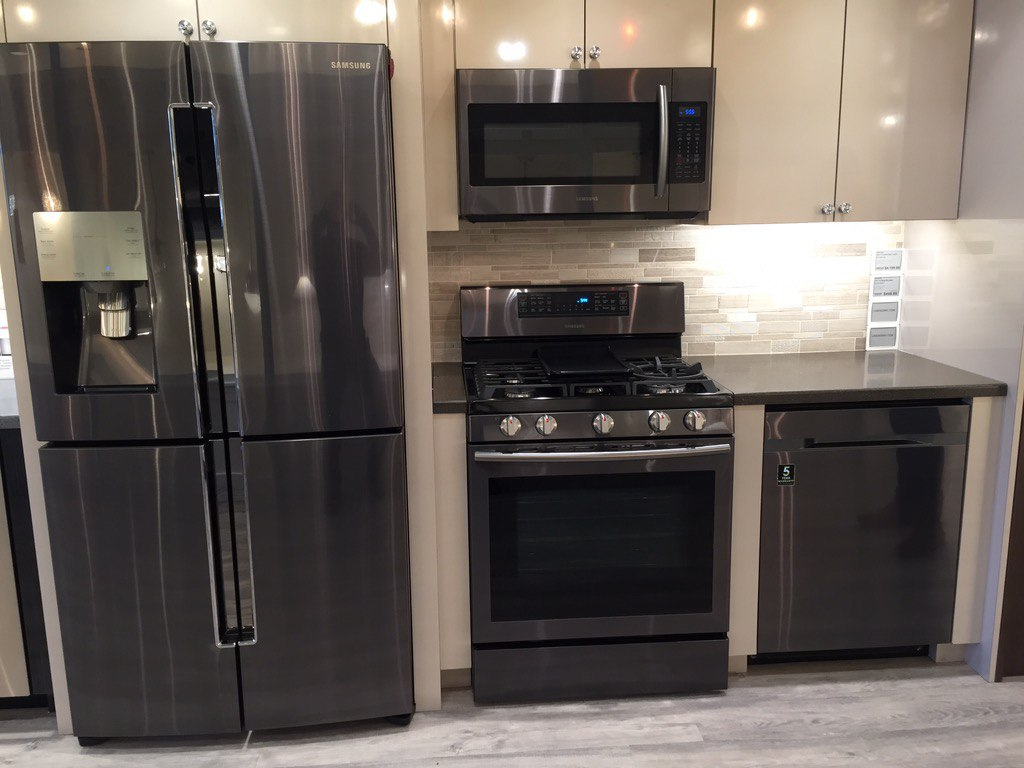 Design blog trends are stainless steel kitchen appliances passe - Samsung Black Stainless Steel Appliances Yale Appliance